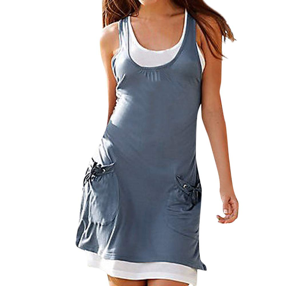 BAOHOKE Womens Simple Fashion O-Neck Pocket Sleeveless Tank Tops Dress,Casual Mini Beachwear Blouse Dresses