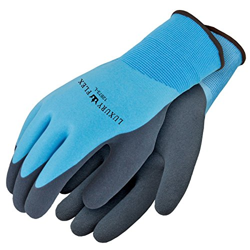 Galeton 12873-L 12873 Luxury Flex Foamed Latex Double Palm and Full Back Coated Nylon Knit Gloves with Superior Grip, Large, Blue, (Pack of 12)