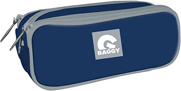 BAGGY Estuche portatodo con triple bolsillo cremallera color azul: Amazon.es: Juguetes y juegos