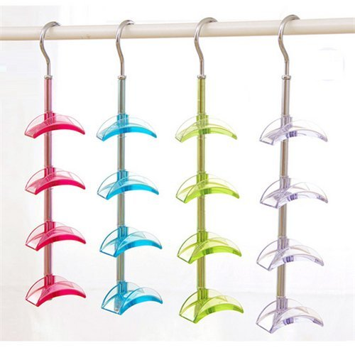 Stock Show 1Pcs 4 Hooks Rotateble Closet Accessories Handbags/Purse Hanger Storage, Blue/Green/Pink/Transparent