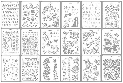 Flower Stencil (Drawing Stencils - 18-Pack Drawing Templates, Hollow Out Art Painting Stencils in Assorted Patterns for Craft Projects, Scrapbooking, Cards, Include Alphabet, Numbers, Flower Shapes 10.25 x 7 Inches)