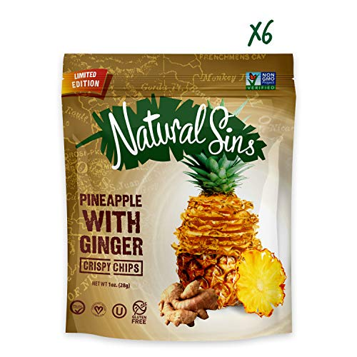 Natural Sins Baked Pineapple with Ginger Chips | 1 Ounce Bag (Pack of 6) | Vegan, Gluten-Free, Paleo, Crispy + Thin, Dried Fruit Snack Food ()