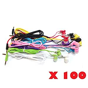 SeattleTech Wholesale Pack of 100 New 3.5mm Colors Simple In-Ear Earphones Headphones Ear-buds For iPhone Samsung- Mixed Colors