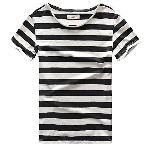 Zecmos Men T-Shirts Stripes Tshirts Casual Slim Fit Striped Tees Top Black -