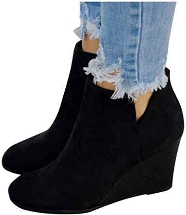 Gibobby Ankle Boots for Women Heel