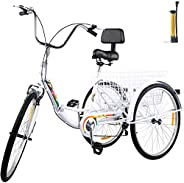 Rtourism Tricycle Adult 26'' Wheels Adult Tricycle 7-Speed 3 Wheel Bikes For Adults Three Wheel Bike For Adult