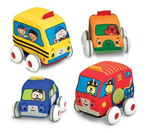 Melissa & Doug K's Kids Pull-Back Vehicle Set - Soft Baby Toy Set With 4 Cars and Trucks and Carrying - Doug Fire Truck