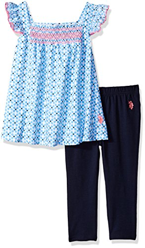 - U.S. Polo Assn. Girls' Little Fashion Top and Legging Set, Smocking Front Babydoll with Flutter Sleeves Multi, 6