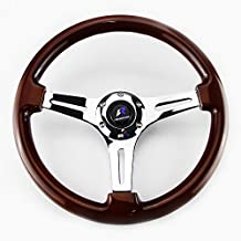 "LR Universal 14"" steering wheel with horn, 6 bolts 1.75"" Dish, Mirrored Chrome Spoke (Wood)"