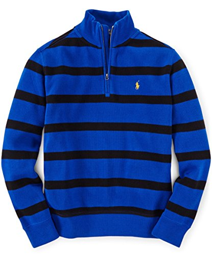 """UPC 888978978466, """"Ralph Lauren Boys' Classic Striped French-Ribbed Sweater (M 10-12, SAPHIRE STAR)"""