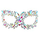 Maru Chunky AB Crystal Glass, Rhinestone Royal Venetian Masquerade Cat Eye Mask