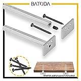 Floating Shelf Bracket - Blind Shelf Supports - Hidden Brackets for Floating Wood Shelves - Concealed Blind Support Bracket for any type of shelf – 2 Brackets Galvanized Steel, Screws Included