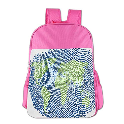 Haixia Kid's Boys&Girls School Backpack World Map Map of The World Fingerprint Style Continents Asia Europe Africa America Decorative Navy Blue Green by Haixia