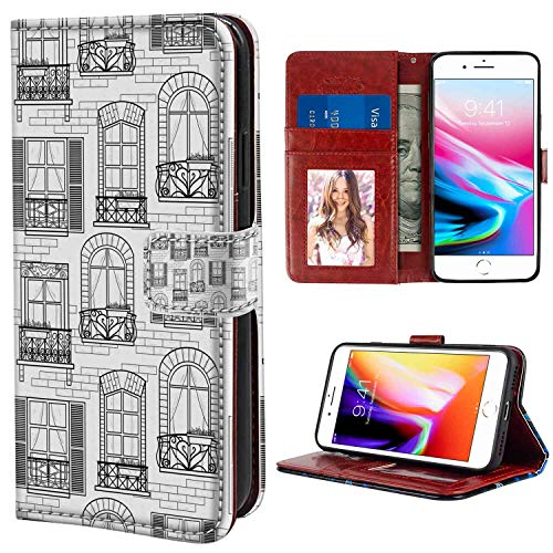 (Leather Wallet Case Fit Apple iPhone 8 Plus & 7 Plus [5.5in] Geometric Apartment Building Urban Architecture European Windows City Town Illustration Grey White with ID Slot Case )