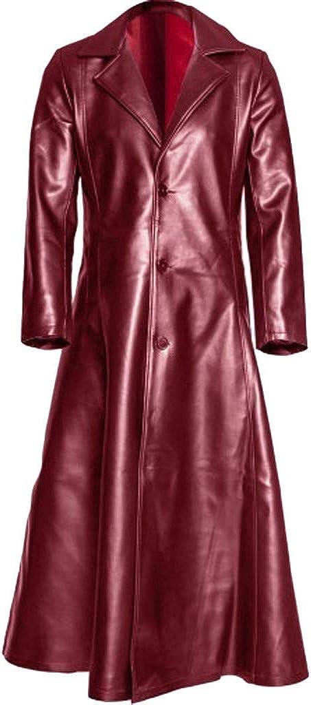 KIMODO Moda Masculina Diario Formal Giro de Cuello Gótico Sólido Abrigo Largo Abrigo de Cuero Chaquetas de imitación de Cuero Chaquetas S-5XL Puño Convencional Estilo Suelto y Simple