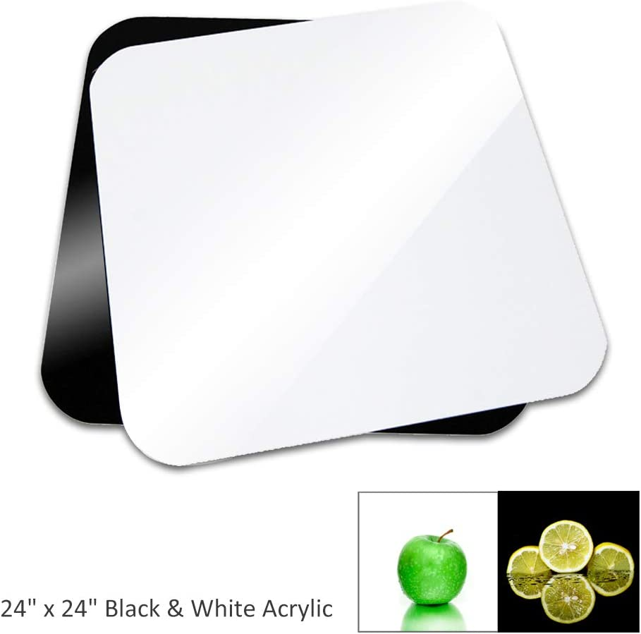 AGG1826 60cm x 60cm Black /& White Acrylic Reflective Table Top Display Background Boards for Photography Shooting LimoStudio 24 x 24