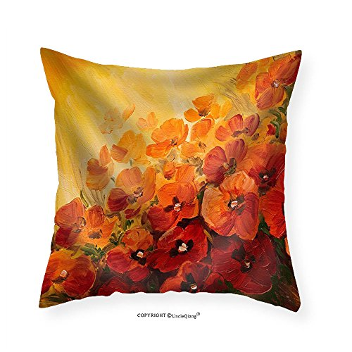 VROSELV Custom Cotton Linen Pillowcase Oil Painting - illustration of poppies on a red-yellow background wallpaper - Fabric Home Decor 14