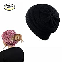 BeanieTail Stretch Knit Hat Messy High Bun Ponytail Beanie Hat-2 PACK