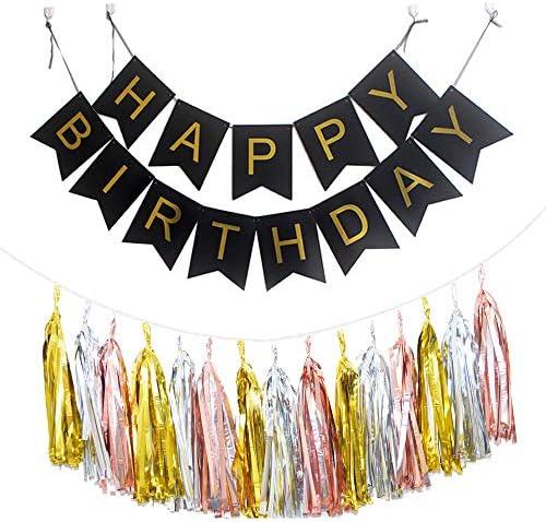 【Lopity】ハッピーバースデー ガーランド タッセル 3色 セット 黒 HAPPY BIRTHDAY バナー 風船 誕生日 フラッグ お祝い インスタ映え パーティー飾りに (ブラック)