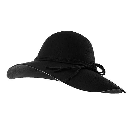 a862cca0ad0 Jeff   Aimy Womens 100% Wool Felt Hat Winter Panama Fedora Pork Pie Church  Derby