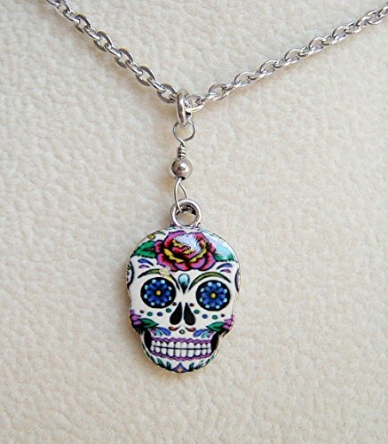 Multi Color Sugar Skull Rose Enamel Charm 18 Inch Stainless Steel Necklace Day Of The Dead Gift Idea (Enamel Mardis Gras Charm)