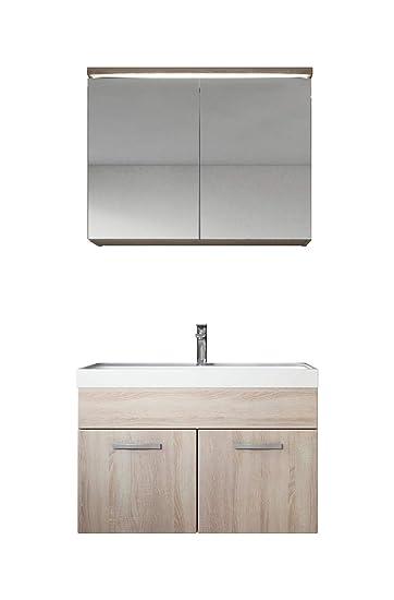 Schrank Badezimmer | Badezimmer Badmobel Set Paso 02 80 Cm Waschbecken Sonoma