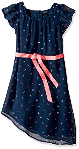 Teen Flag Dress (Tommy Hilfiger Big Girls' Cherry Printed Chiffon Dress, Flag Blue, 8)