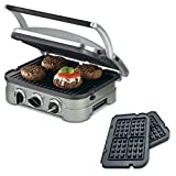 Cuisinart 5-in-1 Grill Griddler Panini Maker Bundle with Waffle Attachment (GR-4N) – Includes Grill and Waffle Plates