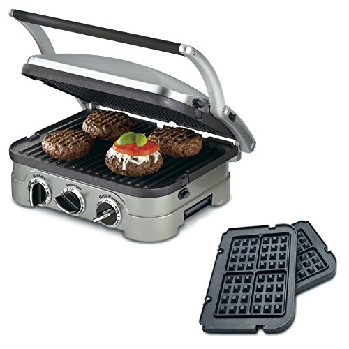 Cuisinart 5-in-1 Grill Griddler Panini Maker Bundle with Waffle Attachment (GR-4N) - Includes Grill and Waffle Plates by Cuisinart