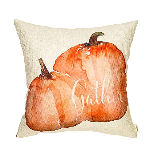 Harvest Decor - Fjfz Farmhouse Gather Watercolor Pumpkin Fall Harvest Decor Thanksgiving Day Sign Cotton Linen Home Decorative Throw Pillow Case Cushion Cover Words Sofa Couch, 18