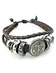 TEMEGO Jewelry Mens Braided Leather Bracelet, Vintage Anchor Charm Cuff Bangle, Fits 7-9 inch