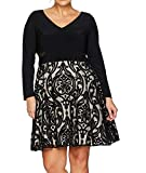 Xscape Women's Plus Size Short Flocked Party with Long Sleeve Ity Top, Black/Stone, 18W