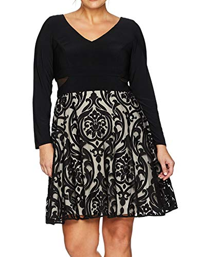 Xscape Women's Plus Size Short Flocked Party with Long Sleeve Ity Top, Black/Stone, 18W by Xscape (Image #3)