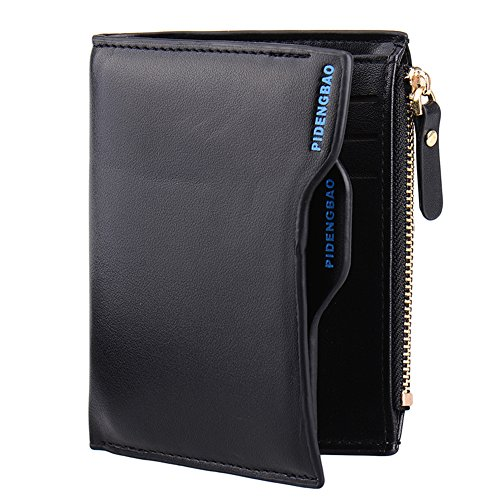 ID Bifold Faux Soft Around Card Clutch Coin Pockets Purse Men's Credit Holder PU Wallet Wallet amp; Coffee with Black Leather Zipper a4EEqwPO