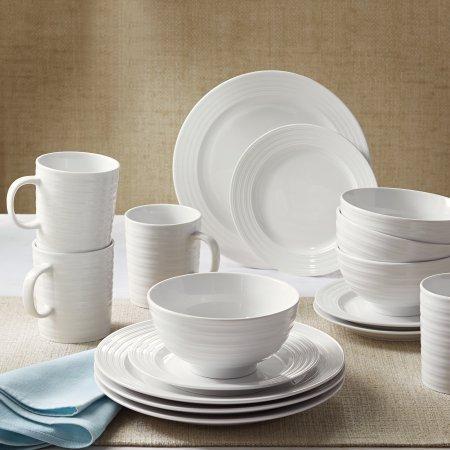 Better Homes and Gardens Anniston Porcelain 16 Piece Dinnerware Set, White (Better Homes Gardens Dinnerware)