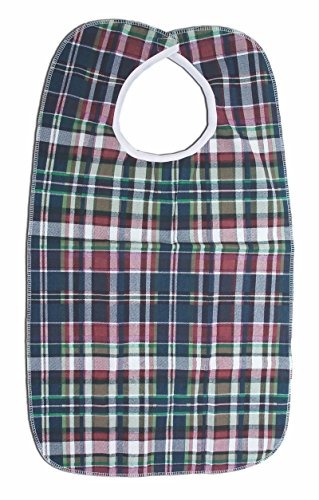 (Essential Medical Supply Deluxe Plaid Bib with Vinyl Back, 18 Inch X 30 Inch)