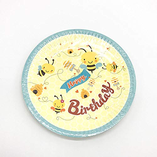 Taka Co Birthday Party Decoration Honey Bee Disposable Tableware Yellow Cartoon Plates Cups Kids Birthday Party Supplies Gift Candy Packaging Box Paper Decoration-7inch plate x10pcs -