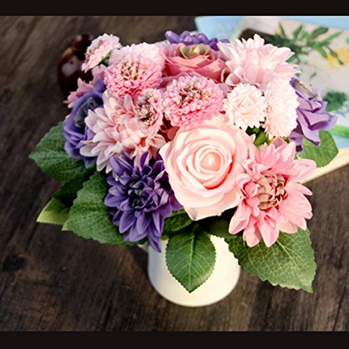 Bringsine Bridal Wedding Bouquet Flower Arrangement Home Decorative Flowers Real Touch Silk Artificial Flowers- Rose, Daisy, Dahlia, Wedding Decoration, Flowers Bunch Hotel Party Garden Floral - Bouquet Arrangement