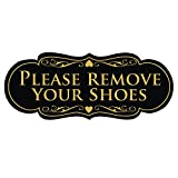 Designer Home Decor Designer PLEASE REMOVE YOUR SHOES Thank You Sign - Black / Gold Large
