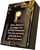 Catholic to the Max|Eucharist & Chalice Cover 4x6.5x2.5in Wooden Keepsake Rosary Jewelry Box, Suede Matte