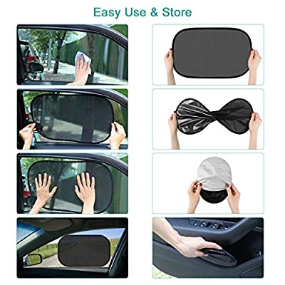Car Window Shades for Baby 4 Pack, Auto Sun Shiled for Blocking UV Ray Protecting Kids Pets Family- Baby Car Side Window Sun Shades- with 2 Size: 2 Transparent & 2 Semi-Transparent Sunshades: Baby