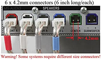 amazon.com: 4.2mm home theater speaker wire connectors(plugs) for select  sony samsung yamaha pioneer etc. receiver; 6 pieces (6 inch long/each);  color coded; please read warnings!: computers & accessories  amazon.com