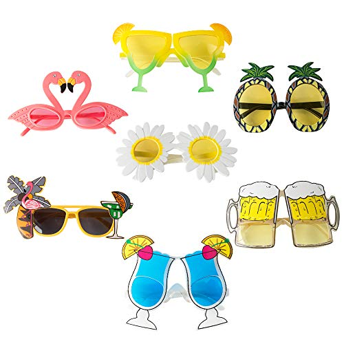 Novelty Party Sunglasses Creative Funny Hawaiian Tropical Glasses Luau Tropical Party Eyewear Hawaiian Themed Eyeglasses Beach Photo Booth Props for Kids & Adults (7 Packs)