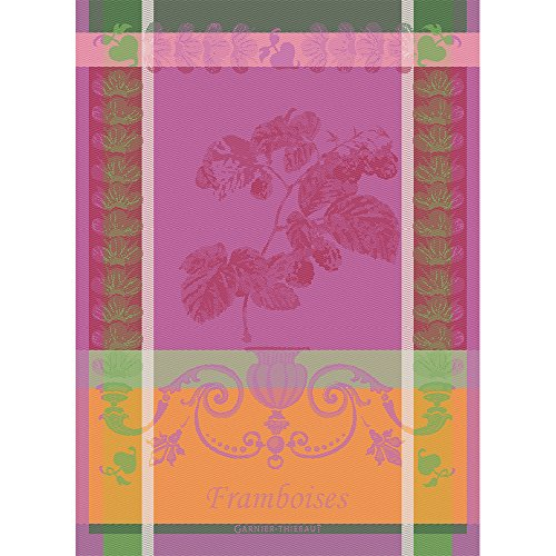 Garnier Thiebaut Towel - Garnier Thiebaut, Framboises (Raspberries) Fuchsia Woven French Kitchen / Tea Towel, 100 Percent Cotton
