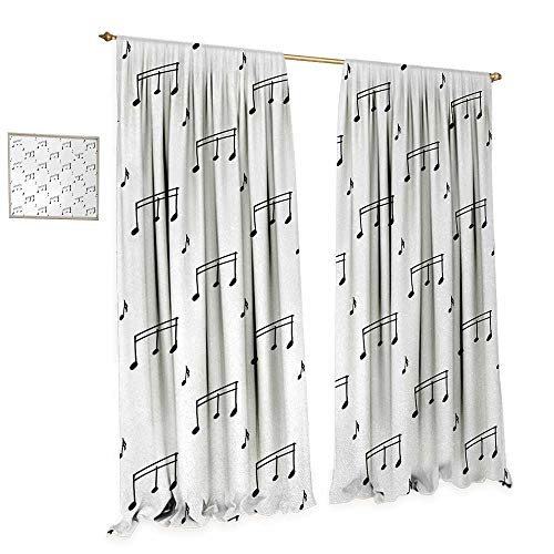 Anniutwo Music Thermal Insulating Blackout Curtain Musical Notes Theme Melody Sonata Singing Song Clef Tunes Hand Drawn Style Pattern Patterned Drape for Glass Door W84 x L108 Charcoal Grey