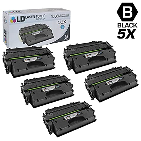 LD © Compatible Replacements for Hewlett Packard CE505X (HP 05X) Set of 5 High Yield Black Laser Toner Cartridges for use in HP LaserJet P2055d, P2055dn, and P2055X (Hp 05a Cartridge)