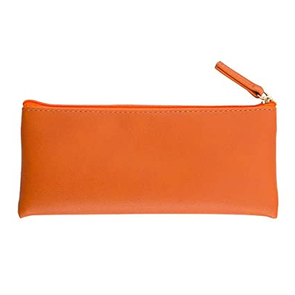 XYBAGS PU Leather Small Pencil Case Pen Bag with Zipper c63109a50d979