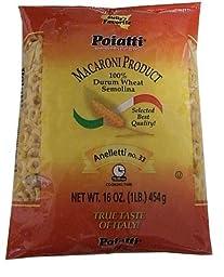 Anelletti Pasta No. 33 Poiatti (Like Tomasello), 16 Ounces