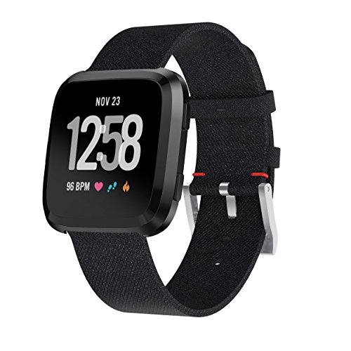Bands for Fitbit Versa, PATROHOO Charcoal Wover Replacement band for Fitbit Versa Wristband for Amazfit/Samsung Gear S3 Classic/Frontier/Moto 360 46mm Smart Watch Black by patrohoo