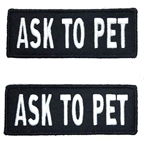 Leash Boss Service Dog Vest Patches – Embroidered 2 Pack – Hook and Loop Both Sides – 3 Sizes